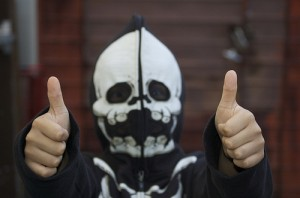 Thumbs up skeleton kid